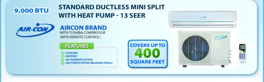 9,000 BTU Air Con Ductless Mini Split